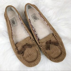 UGG Lizzy Tan Suede Moccasin Slippers Size 11